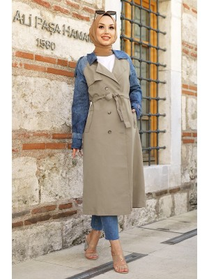 Jeans Detailed Long Trench Coat -Stone