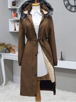 Bolero Detailed Pull-out Hooded Bondit Coat -Snuff