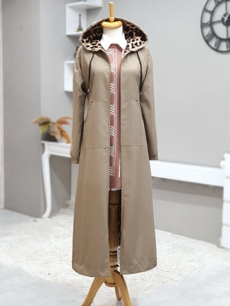 Long Trench Coat With Hooded Sleeve And Elastic Skirt -Light Mink