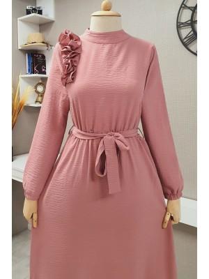 Frilly Long Ayrobin Dress -Powder