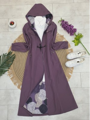 Hooded Tunnel Lace-up Zippered Trench Coat - Purple