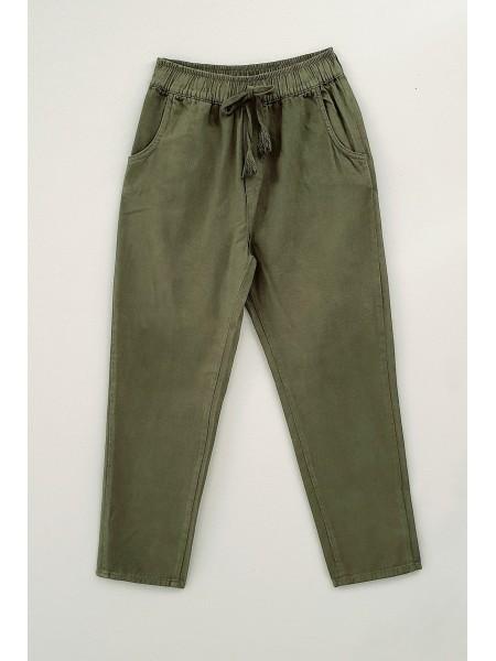 Lace-Up Waist Trousers -Khaki