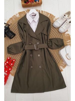 Buttoned Arm Elastic Belt Short Trench Coat -Khaki
