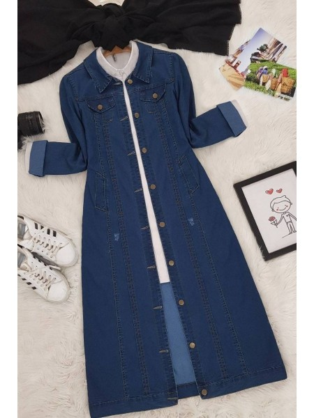 Buttoned Jeans Cape -Navy blue