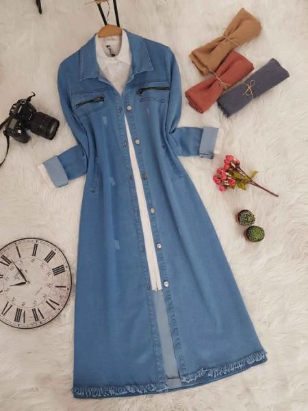 Zipper Detail Long Denim Jacket -Blue
