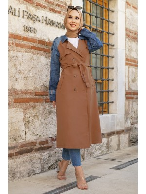 Jeans Detailed Long Trench Coat -Snuff