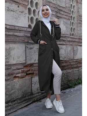 Elastic skirt denim jacket  -Black