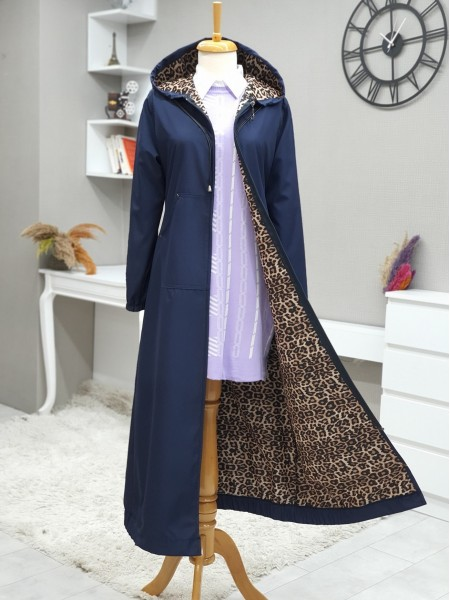 Long Trench Coat With Hooded Sleeve And Elastic Skirt -Navy blue