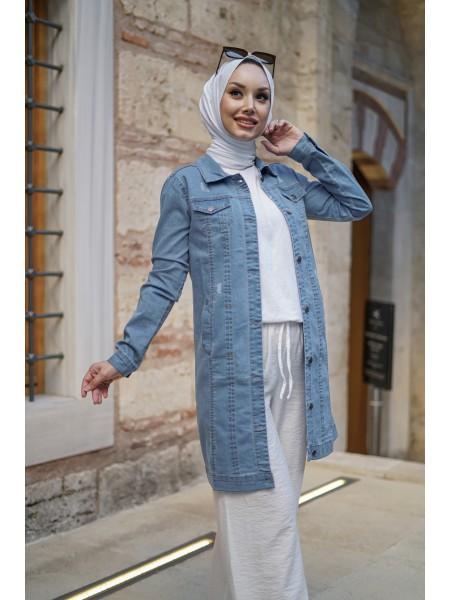 Pocket Denim Jacket   -Light blue