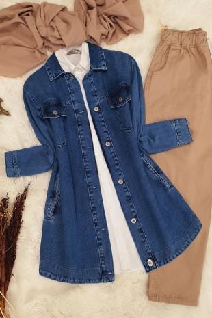 Boydan Düğmeli Kot Ceket -Mavi