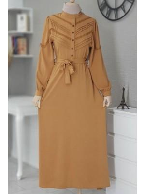 Önü Güpürlü Uzun Ayrobin Elbise -Snuff