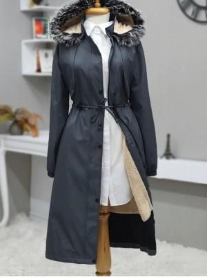 Bolero Detailed Pull-out Hooded Bondit Coat -Smoked