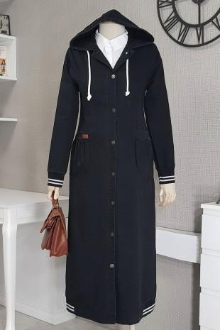 Eteği Lastik Detaylı Kot Kap -Siyah