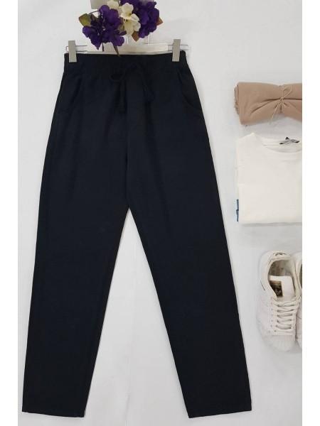 Lace-Up Waist Trousers -Black