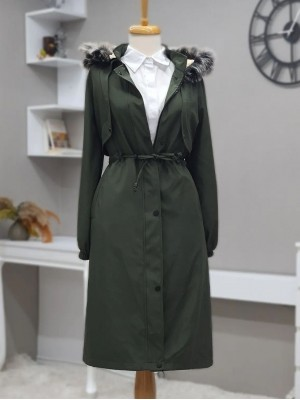 Bolero Detailed Pull-out Hooded Bondit Coat -Khaki