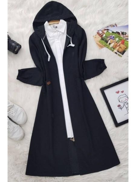 Hooded Long Denim Jacket -Black