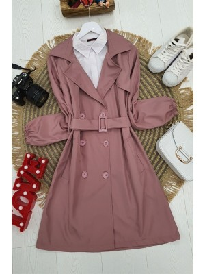 Buttoned Arm Elastic Belt Short Trench Coat -Pink