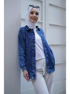 Snow wash denim jacket -Navy blue