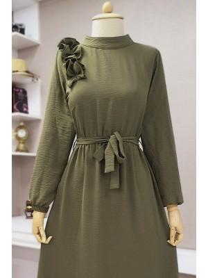 Frilly Long Ayrobin Dress -Khaki