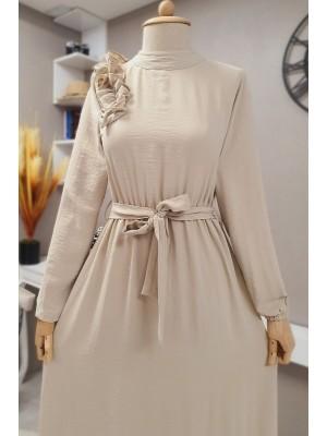 Frilly Long Ayrobin Dress - Beige