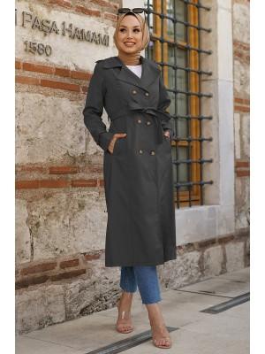 Belted Buttoned Bondit Cape -Black