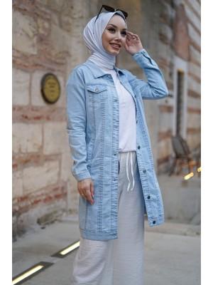 Pocket Denim Jacket    -Ice Blue
