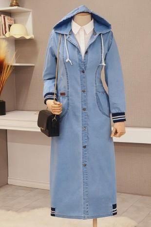 Eteği Lastik Detaylı Kot Kap  -Açık Mavi