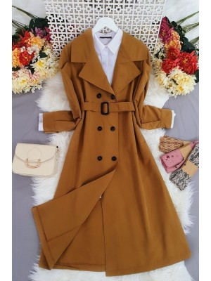 Buttoned Long Trench Coat -Snuff
