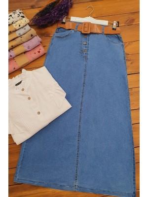Thick Belt Denim Skirt -Blue