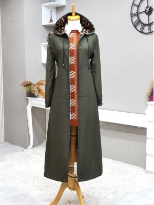 Long Trench Coat With Hooded Sleeve And Elastic Skirt -Khaki