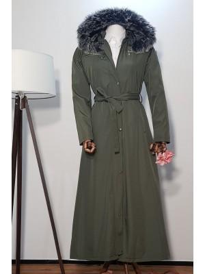 Long Bondit Coat With Fur Hood -Khaki