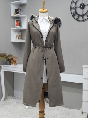Pull-out Hooded Sewing Detail Bondit Coat -Grey