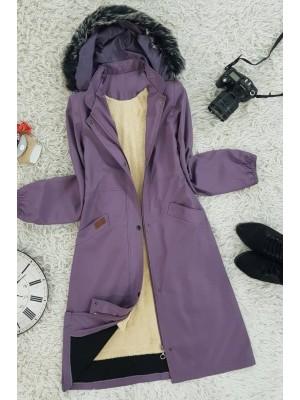 Hooded Fur Bondic Coat -Cherry Color