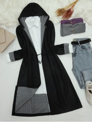 Hooded Elastic Waist Zippered Trench Coat -Black