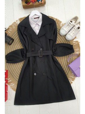 Buttoned Arm Elastic Belt Short Trench Coat -Black