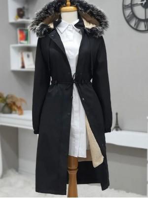 Bolero Detailed Pull-out Hooded Bondit Coat -Black
