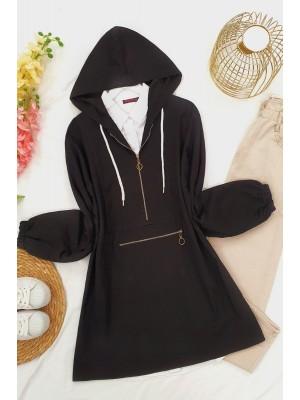 Kangaroo Pocket Zippered Denim Sweatshirt -Black