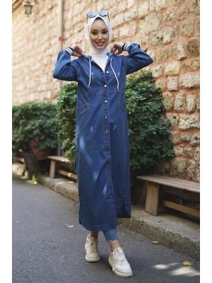 Hooded Jeans Cap -İndigo
