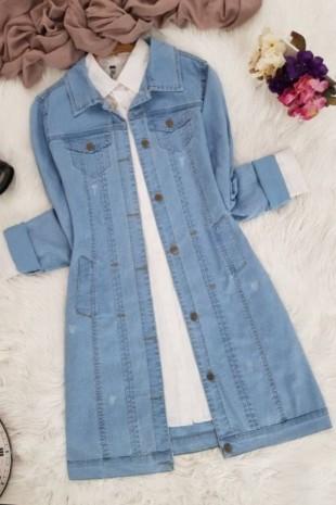 Cepli Kot Ceket   -Açık Mavi