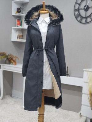 Pull-out Hooded Sewing Detail Bondit Coat -Smoked