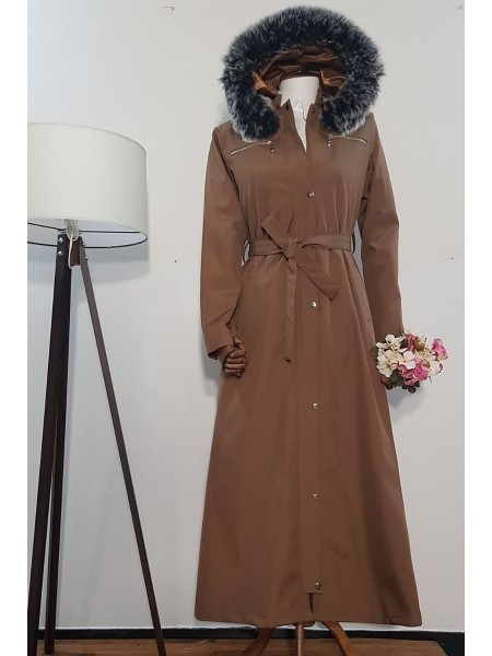 Long Bondit Coat With Fur Hood -Snuff