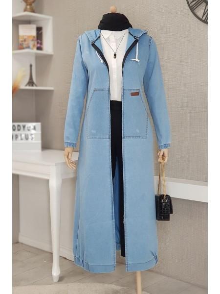 Oversized zipper hooded trench coat  -Light blue