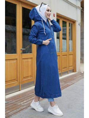 Oversized zipper hooded trench coat  -Blue