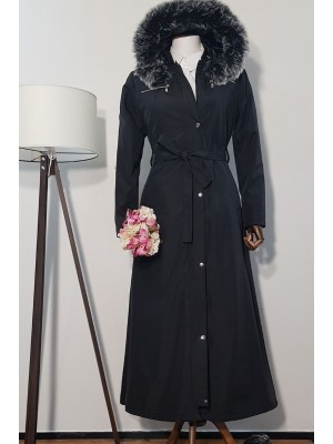 Long Bondit Coat With Fur Hood -Black