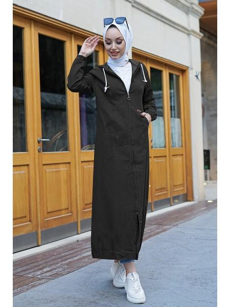 Oversized zipper hooded trench coat -Black