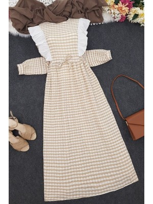 Frilly Tied Waist Long Dress -Mink color