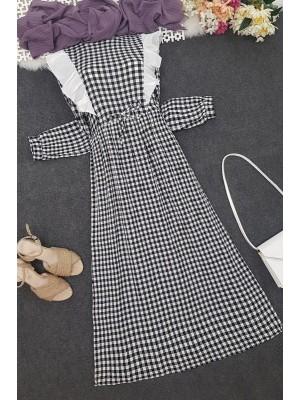 Frilly Tied Waist Long Dress -Black