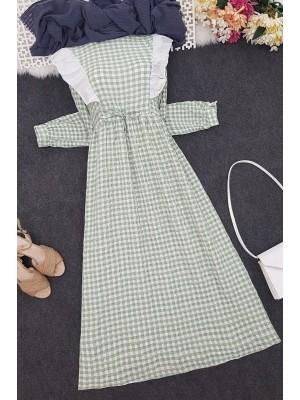 Frilly Tied Waist Long Dress -Green