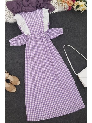 Frilly Tied Waist Long Dress -Lilac