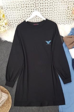 Renkli Kelebek Baskılı Tunik -Siyah